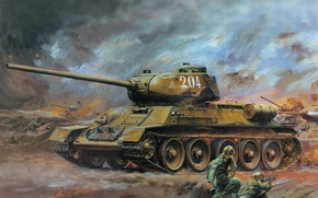 Wallpaper art, tank, T - 34 - 85