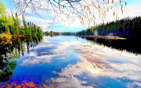 Picture Canada, river, nature, clouds, blue sky, reflection, mirror, canoe, blue lake, green trees, ski, beautiful …