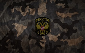 Picture autumn, camouflage, Russia, coat of arms, Chevron