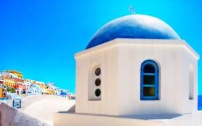 Picture sea, the sky, the city, home, Santorini, Greece, Church
