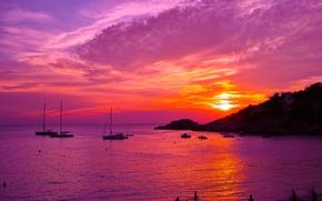 Wallpaper sea, sunset, coast, yachts, boats, the evening, glow, Spain, Ibiza