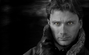 Picture night, Eyes, gloves, Man, jacket, Leather, B & W