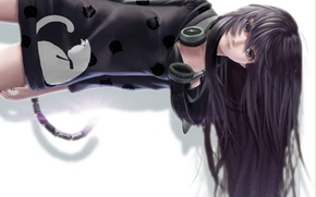 Picture cat, girl, hair, anime, headphones, art, tail, lepus