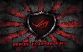 Picture red, logo, grey, background, brand, asus, rog, republic of gamers, asus gamer, sunburst