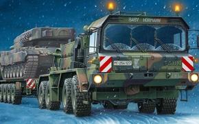 Picture figure, Germany, leopard, tank, cargo, Elefant, SLT, 50-3, Heavy-duty Transporter, baby hormann, heavy tank Transporter, …