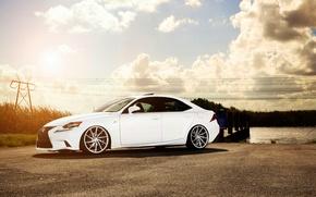 Picture Lexus, white, vossen wheels, frontside, IS F-sport