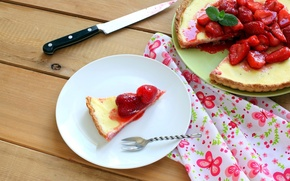 Picture berries, table, strawberry, pie, dishes, dessert, cakes