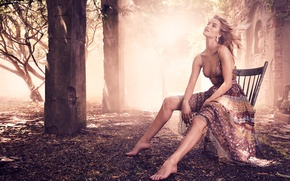 Picture the sun, trees, model, garden, dress, actress, hairstyle, columns, posing, on the chair, sexy, Rosie …