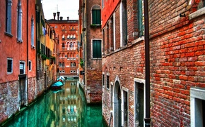Wallpaper brick, water, Italy, wall, Venice, home, Channels