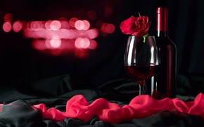 Picture glare, wine, red, glass, rose, bottle, twilight