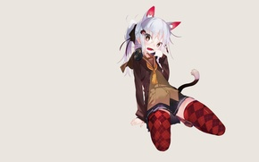 Picture girl, skirt, minimalism, stockings, headphones, tail, grey background, neko, etty, ears, simple background