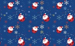 Picture snowflakes, background, the inscription, Santa, a lot