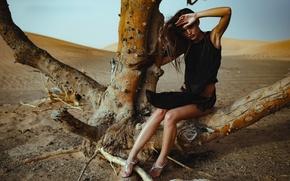 Picture girl, tree, desert, model, Chromatropic