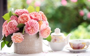 Picture kettle, flowers, table, bouquet, Cup, roses, leaves, blur, saucer, petals, pink, tablecloth