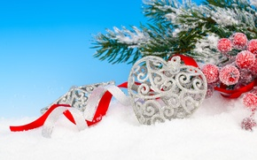 Picture winter, snow, branches, berries, toy, heart, silver, spruce, New Year, Christmas, holidays, Holly, Christmas