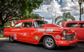 Picture red, retro, Chevrolet, Bel Air, Chevrolet Bel Air