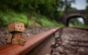 Wallpaper box, danbo, sadness, rails