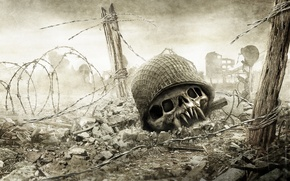 Picture death, war, skull, the fence, Resistance