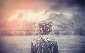 Picture girl, snow, mountains, treatment