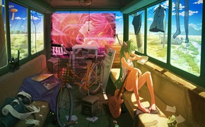 Picture cat, girl, bike, clothing, guitar, bus, vocaloid, hatsune miku, journey