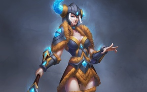 Wallpaper armor, League of Legends, Sejuani, helmet, art, background, girl