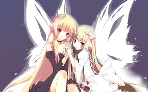 Picture girls, wings, crown, Two, bow, long hair