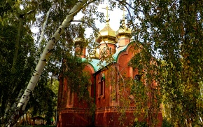 Picture autumn, Temple, chapel, birch, OMSK