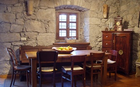 Wallpaper design, house, room, interior, dining room, Mediterranean style
