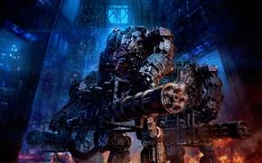 Picture weapons, rain, explosions, Robots