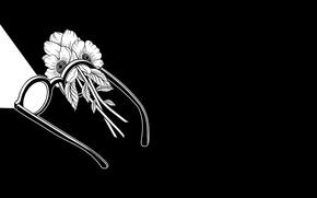 Picture Flowers, Minimalism, Glasses, Art, Art, Black, White, Wallpaper, Minimalism, The Wallpapers, Henn Kim