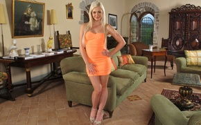 Picture girl, house, furniture, dress, blonde, orange, Tracy Delicious