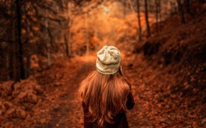 Wallpaper autumn, leaves, girl, Dream Chaser