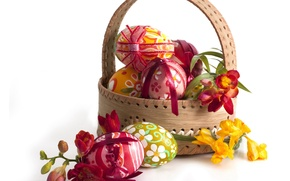 Picture eggs, spring, Easter, flowers, basket, spring, eggs, easter, freesia