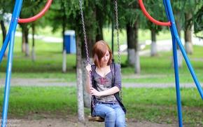 Picture swing, Girl, Photographer Yuri Clerks, Park.