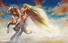 Picture the sky, girl, clouds, animal, horse, art, mane, long hair, jump, Lady Godiva