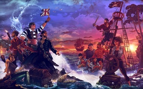 Picture sea, shore, ship, island, mermaid, pirates, chest, treasures