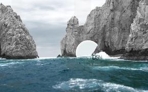 Wallpaper wave, water, Rocks
