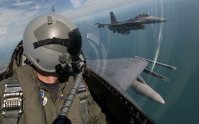 Picture the sky, clouds, aviation, Wallpaper, helmet, cabin, pilot, the plane, pilot, military