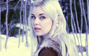 Picture eyes, girl, blue, blonde, elf