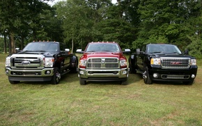 Picture trees, background, Ford, Ford, Dodge, jeep, Dodge, pickup, the front, and, GMC, Ram, Denali, Super …