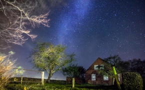 Picture the sky, night, house, stars, house, sky, trees, nature, Night, stars