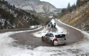 Picture Auto, Mountains, White, Sport, Volkswagen, Machine, People, Turn, Skid, Red Bull, WRC, Rally, Rally, Polo, …