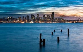 Picture skyline, winter, Seattle, pacific
