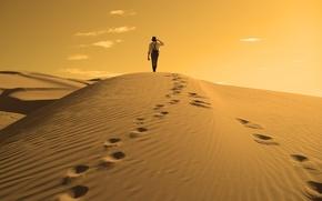Wallpaper nature, the dunes, desert, dunes, dreamer's, male, traveler, traveler, the sun, the wanderer