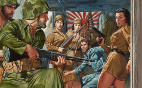 Picture weapons, girls, figure, flag, art, release, prisoner, American soldiers, Japanese soldiers