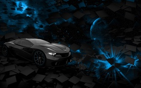 Picture car, space, black, blue, square, background, planet, rendering