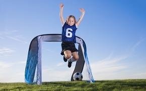 Picture field, children, football, sport, the ball, girl