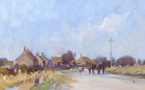 Picture landscape, picture, Edward Seago, Village in West Norfolk