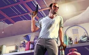 Picture man, addict, Grand Theft Auto V, gta5, the Bandini, Trevor Phillips