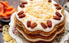 Wallpaper cake, nuts, cream, cakes, pecan
